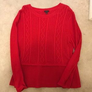 Red cable knit Talbots sweater